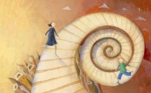 Escalera-en-espiral-con-personas